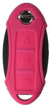 Silicone Key Fob Case Cover Fits Nissan 3 Button Remote Key Fob New (Fuchsia)