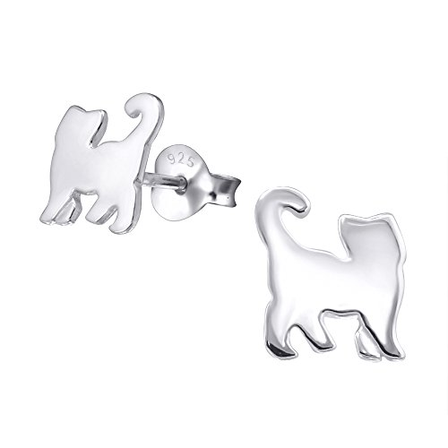 Katy Craig Cat Earrings - Sterling Silver - Plain - Gift