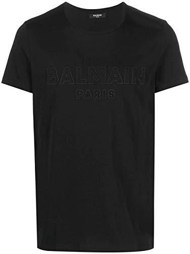 Balmain Luxury Fashion Herren VH1EF000B0380PA Schwarz Baumwolle T-Shirt   Ss21