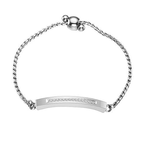 Zysta Edelstahl AscheSchmuck- Verstellbar Urne Armband Locket Armreifmit Strass Armkette fürMemorial+ Trichter füllen Kit (silber)