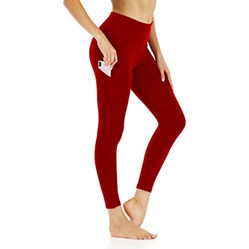 EMPERSTAR Entrenamiento De Las Mujeres Correr Capris Leggings Bolsillo Control De Barriga Pantalones De Yoga De Cintura Alta Rojo L