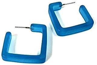 Aqua Blue Square Hoop Earrings | Matte Square Hoops | vintage lucite hoop earrings