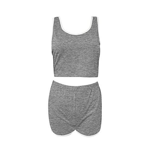 Julhold Chándales de mujer Casual de dos piezas Traje de verano sexy Shorts Suit (Gris, M)