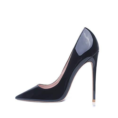 GENSHUO Stiletto Stiletto High Heels, 12CM/4.72IN Damen Pumps Spitz Party High Heels Sexy Basic Schuhe Damen Geschlossen Abendschuhe Lack/Wildleder ,schwarz 37 EU(7 US)
