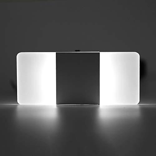 wosume Apliques de Pared LED Luces de Aluminio, Acrílico LED Habitación de Interior Aplique montado en la Pared Lámpara de Noche Lámpara Decorativa(Pure White & Black-S)