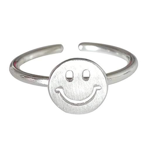 Mayelia Anillo de cara sonriente vintage plateado lindo anillo abierto anillo anillo ajustable para mujeres y niñas