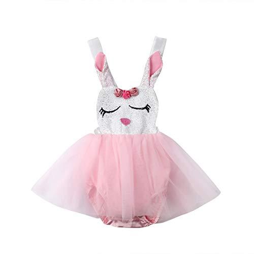 Newborn Infant Baby Girls Bunny Easter Bodysuit Halter Sleeveless Romper Tutu Dress Summer Clothes 0-24M (18-24M, Pink)
