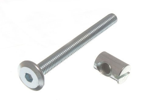 ONESTOPDIY.COM B Furniture COT Bed Bolt Allen Head with Barrel NUT 6MM M6 X 60MM ZP (Pack of 10), Silver