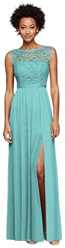 Long Bridesmaid Dress with Lace Bodice Style F19328, Spa, 2