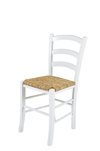 2er Set Holzstuhl Capri II, Gestell Buche massiv Weiß, Sitzfläche Binsengeflecht, 43x47x85 cm