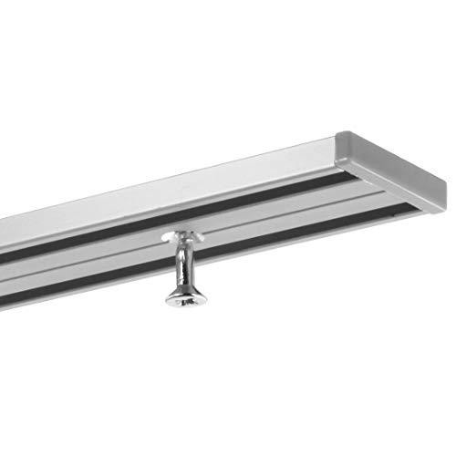 Gardineum 3,60 m (2 x 1,80 m + Verbinder) Gardinenschiene, alle Längen bis 4,60 m möglich, Vorhangschiene, Aluminium, Silber, alu-Silber eloxierte Oberfläche, 2-läufig, vorgebohrt