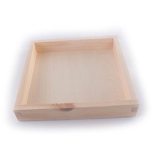 Search Box - Boîte de Rangement - En bois - Présentoir carré - Artisanat de bricolage - Photophore bougie chauffe-plat - 20 x 20 x 3 cm