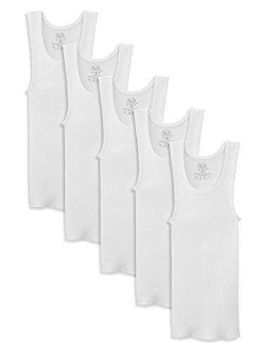 Fruit of the Loom Boys' White A-Shirt -Medium 5-pack