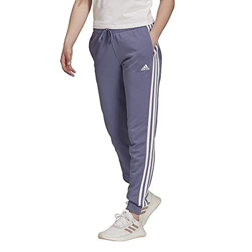 adidas Women's Standard Essentials French Terry 3-Stripes Pants, Orbit Violet/White, Small