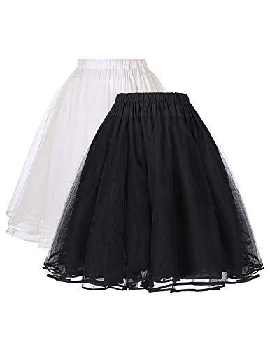 Belle Poque 1950 Vintage Petticoat Reifrock Unterrock Underskirt Crinoline für festliches Kleid schwarz+beige L ZHXS85-2