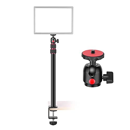 Neewer Soporte de Montaje de Escritorio, Ajustable de 16,9 a 40,2 Pulgadas Soporte de Luz de Mesa Soporte de Clip con Adaptador de Cabeza Esférica para Luz de Video/Anillo de Luz/DSLR