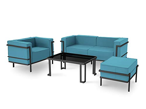 Calme Jardin Gartenmöbel, 4 Sitzplätze, Blauer Rahmen, Anthrazit