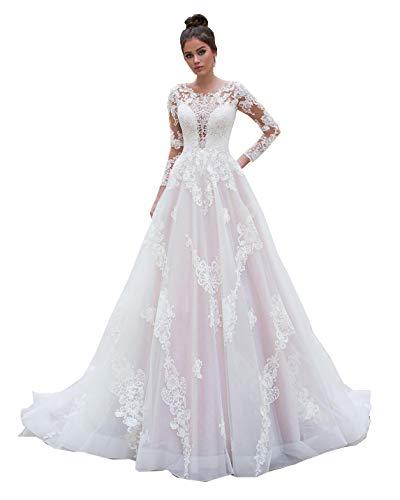 CGown Illusion Sweetheart Spitze Brautkleider für Braut mit Kirche Zug A Linie Lang Brautkleid Ballkleid Übergröße Gr. 56, elfenbeinfarben