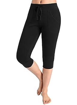 Weintee Women s Capri Joggers Jersey Sweatpants XXXL Black