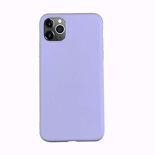 LIMITED Caja De Color Caramelo De Lente Totalmente Protegida para iPhone 11 XR X XS 11Pro MAX 7 6 6S 8 Plus Parejas Funda De Silicona De Color Sólido (Lila,For iPhone 11 Pro)