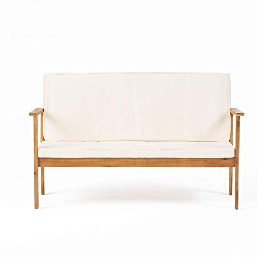 Christopher Knight Home Luciano Outdoor Acacia Wood Bench with Water Resistant Fabric Cushions, Brown Patina / Cream