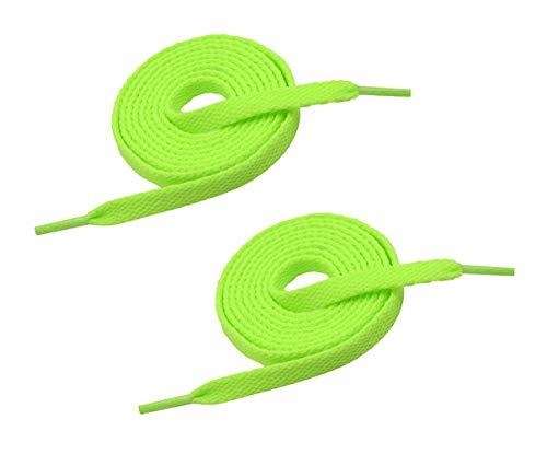 "VSUDO Preminum 45"" Flat Neon Green Shoe Laces for Sneakers, 5/16"" Flat Neon Green Shoe Strings for Sneakers, Athletic Replacements Flat Neon Green Shoelaces for Women or Men (1 Pair-Neon Green-114CM)"