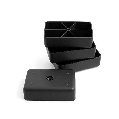 Design61 4er Set Sofa Füße Kunststoff Möbelgleiter Möbeluntersetzer Sofa Sessel zum Anschrauben Kunststoff Möbelgleiter Eckig in Schwarz