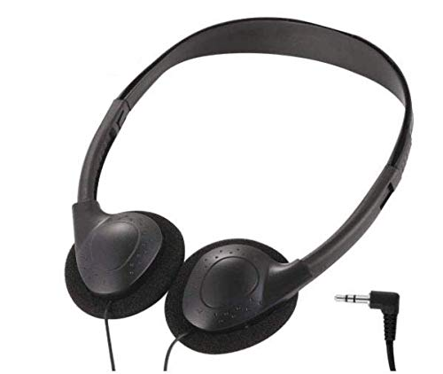Deal Maniac Wholesale Over-Ear Headphones - Low-Cost Stereo Headphones for Students, Classroom, Library - Package of 3 - Black Headphones