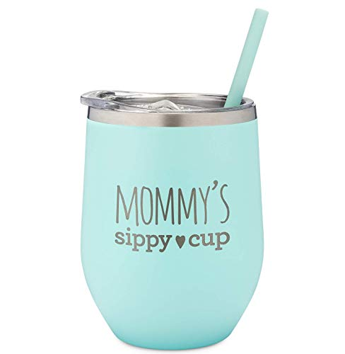 SassyCups Mommy's Sippy Cup Wine Tumbler | Engraved Stainless Steel Stemless Wine Glass Tumbler with Lid and Straw For New Mom | Mommy Tumbler | Mom to Be | Soon to Be Mom (12 Ounce, Mint)