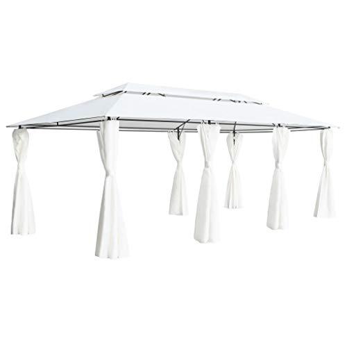 vidaXL Paviljoen met Gordijnen 600x298x270 cm Wit Tuinpaviljoen Tuintent Tent