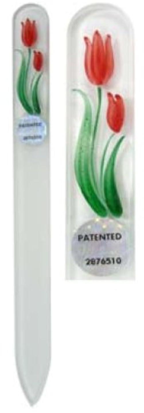 リベラル毎日レタッチBlazek(ブラジェク) ガラス製爪やすり ハンドペイントMサイズ 140mm チェコ製 チューリップ