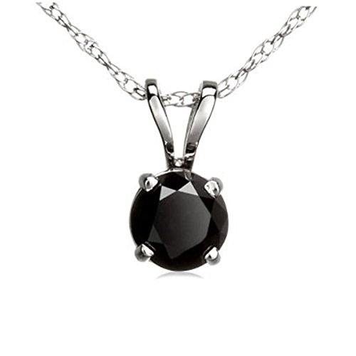 Dazzlingrock Collection 0.27 Carat (ctw) 10K Round Cut Black Diamond Ladies Solitaire Pendant 1/4 CT, White Gold