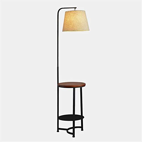 Slow Time Mesa Final con lámpara, lámpara de pie de Hierro casera, lámpara de pie con estantes de Almacenamiento y lámpara, mesita de Noche, para Dormitorio.