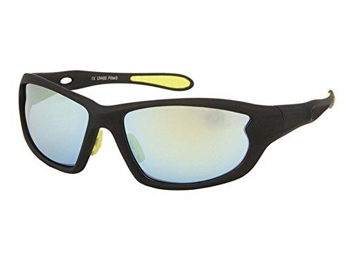 Chic-Net Sonnenbrillen Radbrille Sportbrillen bunt verspiegelt 400 UV breit Bögen Gummi gelb