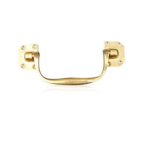 Zjcpow-HO - Tirador de Puerta de latón Macizo para Maleta, cajón, 2 Unidades, Metal, Dorado, 148 * 29mm