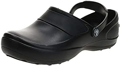 Crocs Women's Mercy Clog | Slip Resistant Work Shoes, Black/Black, 8