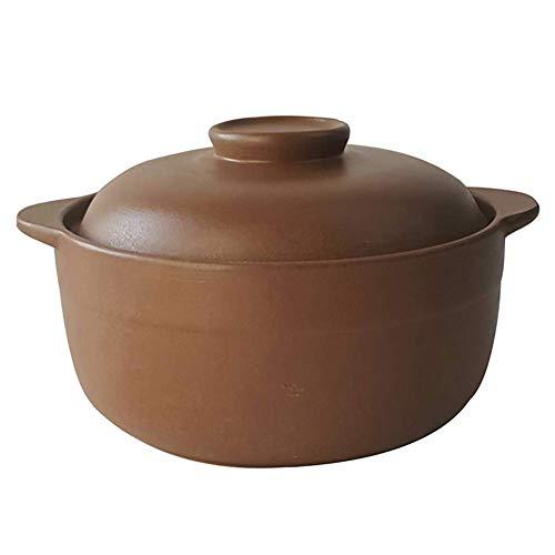 Ybzx Gas Safe Stew Pot Schmorpfanne, Keramik Hitzebeständig Gesundheit Suppentopf, unglasiert Auflaufform für Schwangere unglasiert 3 Liter
