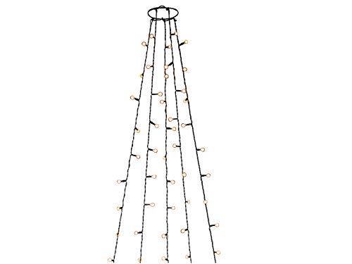 Led-lichtsnoer boom mantel 150 barnsteenkleurige diodes op 5 strengen, 30 V binnentransformator en 6 uur timer, donkergroene kabel