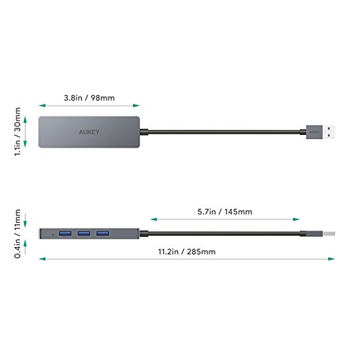 AUKEY USB 3.0 Hub 4 Port Ultra Slim Extra Licht aus Aluminium USB Hub für MacBook Air, Mac Pro/Mini, Microsoft Surface Pro, Dell XPS 15 und Andere USB Geräte