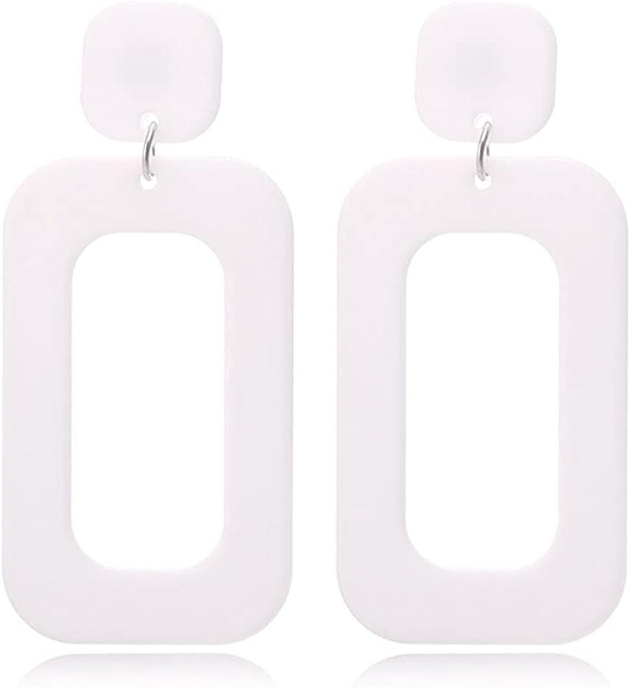 CHUNYANAN Boho Elegant Retro Simple Acrylic White Geometric Square Hollow Earrings for Women Girls White Minimalist Statement Hypoallergenic Drop Earrings