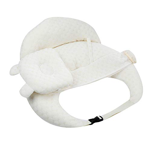 XMWEALTHY Baby Pillow and Positioner Boy Girl Pillow for Nursing with Headrest Backrest Baby Breastfeeding Pillow Soft Cotton Nursery Pillow Adjustable Strap Beige