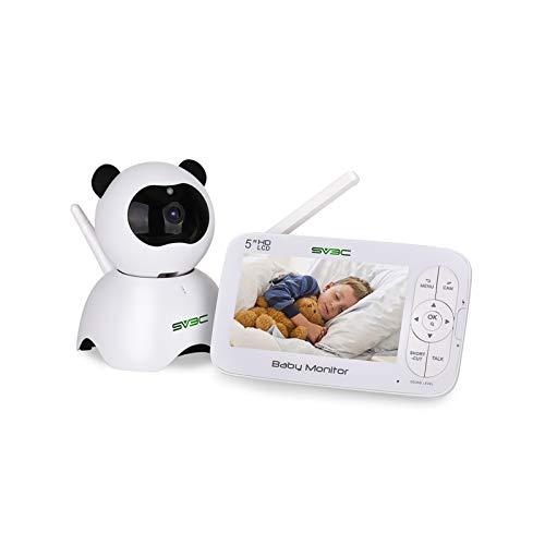 Monitor Para Bebés LCD HD De 5 Pulgadas Con Video Y Audio, Intercomunicador De Voz Bidireccional, Detección Automática De Temperatura Por Visión Nocturna
