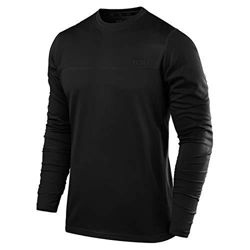 TCA Element Herren Laufshirt/Funktionsshirt mit Rundhalsausschnitt - Langarm - Black Stealth (Schwarz), XL
