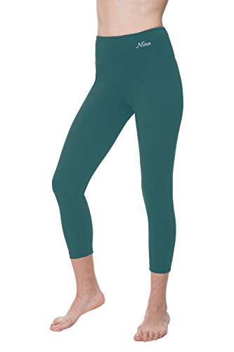 NIRLON Capri Leggings for Women 7/8 Length High Waist Workout Capri's Yoga Pants Regular & Plus Size Cotton Spandex (XL, Petrol 22' Inseam)