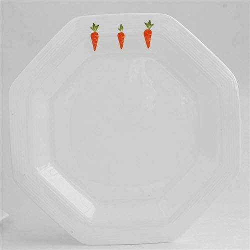 L.BAN Cocina/Vajilla/para el hogar Al Aire Libre Camping Plato de cerámica de losa de Zanahoria Plato de Carne Occidental Plato de Postre de Pastel Octogonal, 24 cm