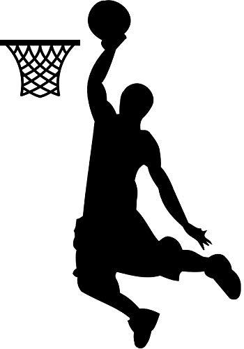 EmmiJules Wandtattoo Basketball-Spieler Basketballer - mit Namen möglich - Made in Germany - in verschiedenen Farben und Größen - Junge Sport Wandaufkleber Wandsticker (60cm x 45cm, schwarz)