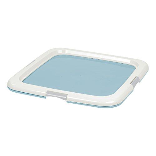 Iris Ohyama, bandeja de entrenamiento para perro, educación para la limpieza - Pet Pad Holder - plástico, azul, tamaño mediano, 55,8 x 58,4 x 2,54 cm