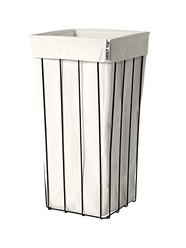 ABOUT YOU The Cage - Cesto para la ropa sucia con bolsa separada, espaciosa y estable para ropa, diseño negro, cesta de metal (blanco roto)