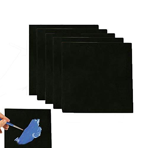 5 x schwarze Leinwand Panel, 15 x 15 cm, gedehnte Leinwand, quadratisch, kleine Kunst Tafel für Ölfarbe, blanko, 15 x 15 cm