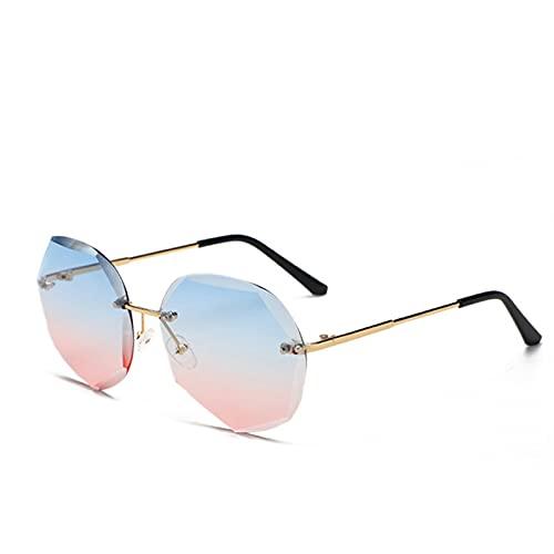 MVAOHGN 2021 Vintage sin Borde Gafas de Sol Diseño Moda Lady Sun Glasses Alloy Classic Designer Shades UV400 Eyewear (Lenses Color : C8)